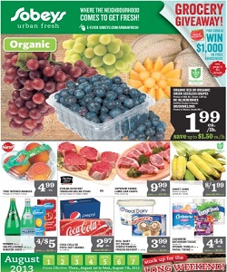 Sobeys Weekly Flyer 08/01/13-08/07/13. Organic Grapes and Blueberries
