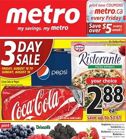 Metro Ad 08/16/13-08/22/13. 3 Day Sale - Friday, August 16 to Sunday, August 18