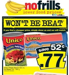 No Frills Ad 08/16/13-08/22/13. Unico Pasta Sauce or Pasta Sale