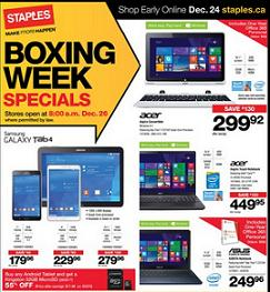 Staples Boxing Day 2014 Sales. Samsung Galaxy Tab 4