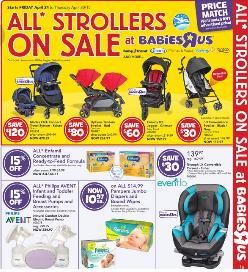 Babies R Us Weekly Flyer April 24 – 30, 2015. All Strollers On Sale
