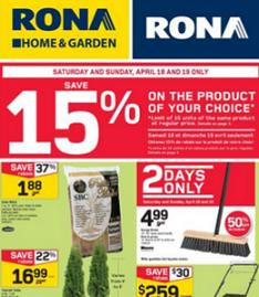 Rona Weekly Flyer 04/16 – 04/22/2015. Cedar Mulch