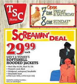 TSC Flyer 04/17 – 04/23/2015. Men's & Women's Softshell Hooded Jackets