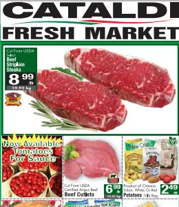 Cataldi Flyer August 19 – 25, 2015. Beef Striploin Steaks