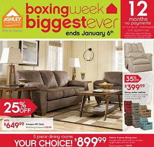 Ashley Furniture Flyer December 28, 2015 – January 6, 2016. Boxing Week – Biggest Ever