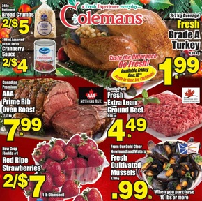 Colemans Flyer December 17 – 24, 2015. Fresh Grade A Turkey