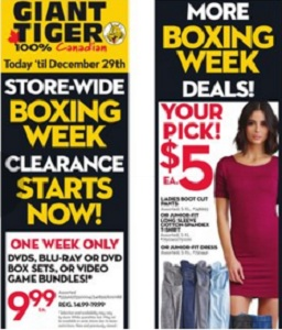 Giant Tiger Boxing Day 2015 Sales Flyer. Ladies Body Contour Dress