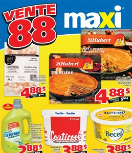 Maxi Flyer. St-Hubert pies, Tourtiere or Quiche selected varieties, frozen
