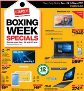 Staples Weekly Flyer December 26, 2015 – January 5, 2015. Boxing Week Specials