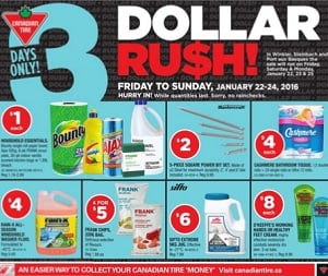 Canadian Tire Flyer January 22 – 28, 2016. Dollar Rush!