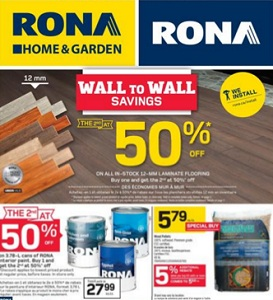 Rona Flyer. Wall to Wall Savings