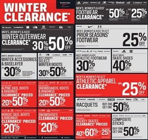 Sport Chek Flyer. Winter Clearance