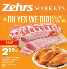 Zehrs Weekly Flyer January 29 – February 4, 2016. Pork Tenderloin or Pork Back Ribs
