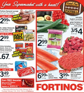 Fortinos Weekly Flyer February 5 – 11, 2016. Food for Football Fans