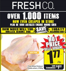 Freshco Flyer February 4 – 10, 2016. Fresh Whole Chickens