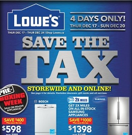 Lowe's pre-Boxing Day 2015 Sale